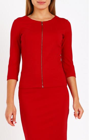Красиво сако от трико с 3/4 ръкав в наситено червен цвят