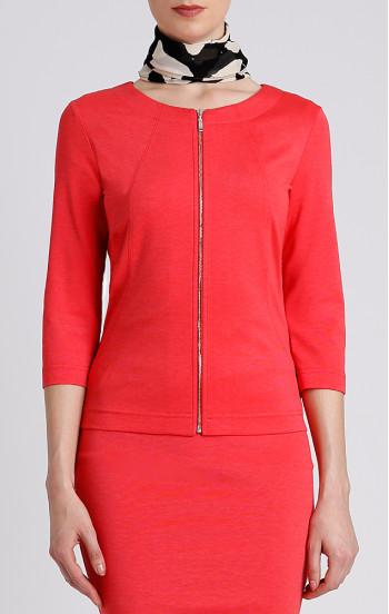 Красиво сако от трико с 3/4 ръкав в цвят тъмен корал