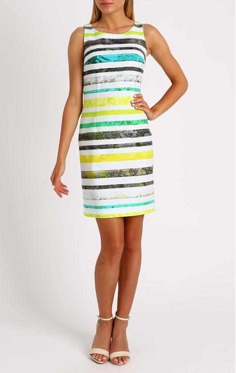 Елегантна рокля в цветно райе