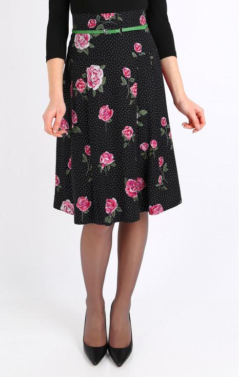 Елегантна пола с платка и висока талия