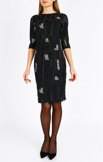 Ефирна черна рокля с подвижна подплата