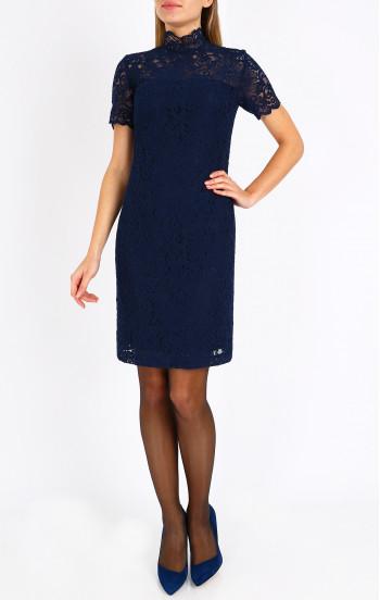 Официална рокля от тъмно синя дантела