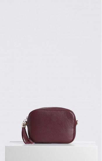 Чанта от естествена кожа с дълга дръжка