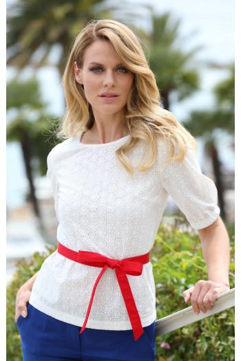 Елегантна блуза от памук в свободен силует