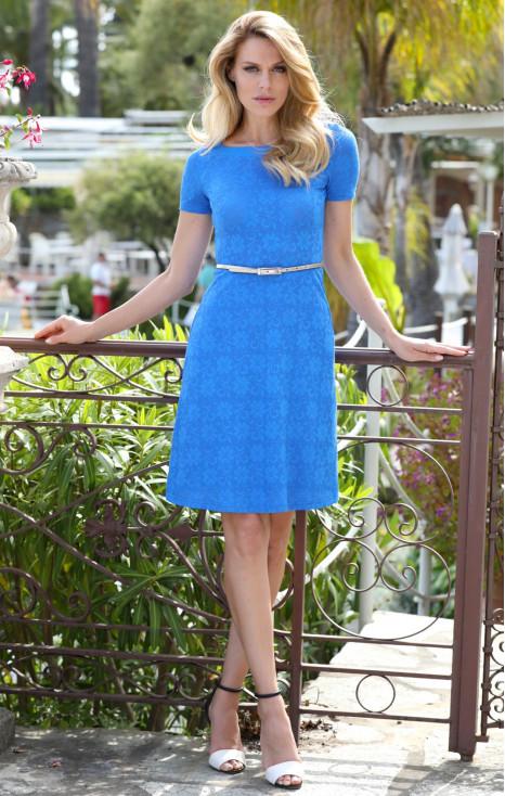Рокля от красива еластична дантела в цвят Palace Blue